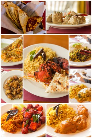 콜라주 이미지에서 인기있는 인도 요리의 다양한
