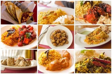 Variedad de platos de comida india populares de la imaginería del collage Foto de archivo - 42588932