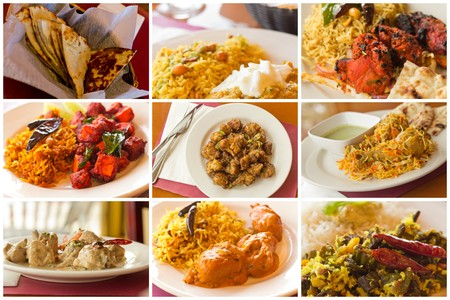 spicy: Variety of popular Indian food dishes in collage imagery