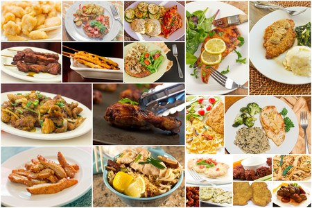 food collage: Variety of popular chicken dishes in food collage imagery