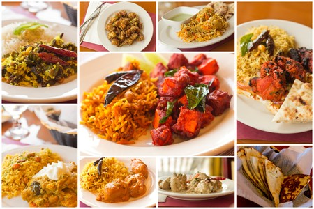 indian cuisine: Variety of popular Indian food dishes in collage imagery