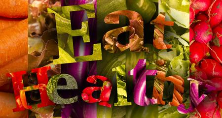 comer sano: Alimenticios tem�tica Veh�culos sanos deletrean las palabras Coma Saludable Foto de archivo