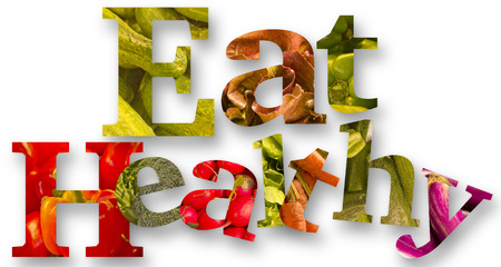 comer sano: Healthy eating themed vegetables spell the words Eat Healthy
