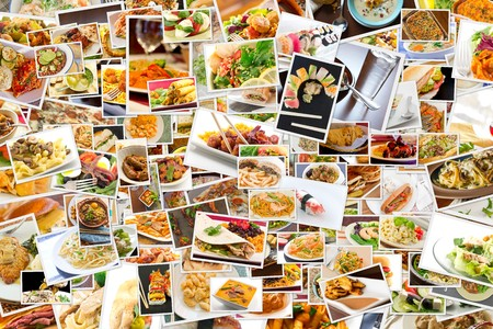 exotic food: Collage of lots of popular worldwide dinner foods and appetizers