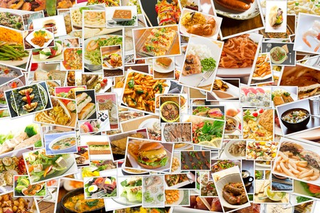 varieties: Collage of lots of popular worldwide dinner foods and appetizers