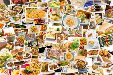 cuisine: Collage of lots of popular worldwide dinner foods and appetizers