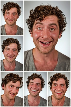 average guy: Regular average looking man making various facial expressions in collage imagery