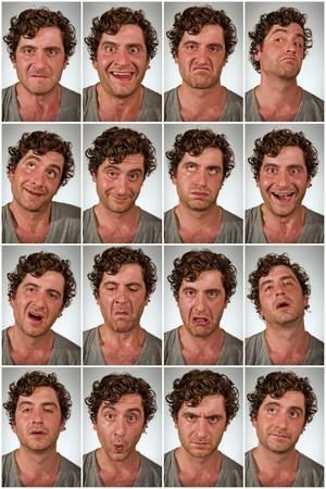 stinks: Regular average looking man making various facial expressions in collage