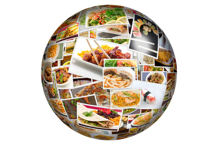 diet dinner: Globe collage of lots of popular worldwide dinner foods and appetizers