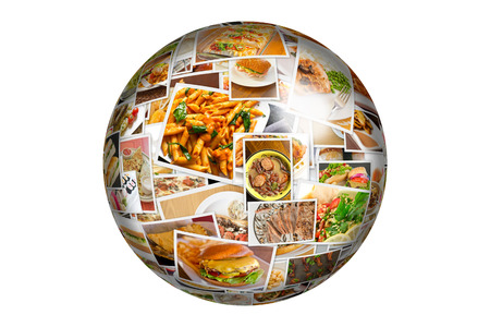 food collage: Globe collage of lots of popular worldwide dinner foods and appetizers