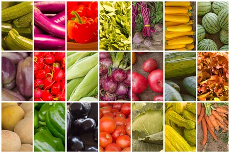 produces: Variety of popular farmers market fruits and vegetables in produce collage imagery