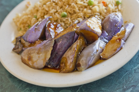 berenjena: Chinese sauteed eggplant with oyster sauce and fried rice