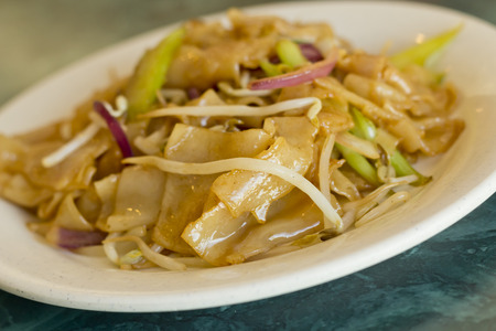 Thai vegetable pad thai with flat noodles