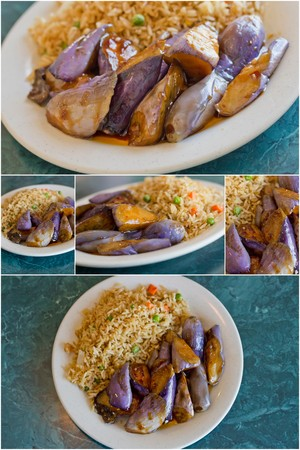 eggplant: Collage images of Chinese sauteed eggplant with oyster sauce and fried rice
