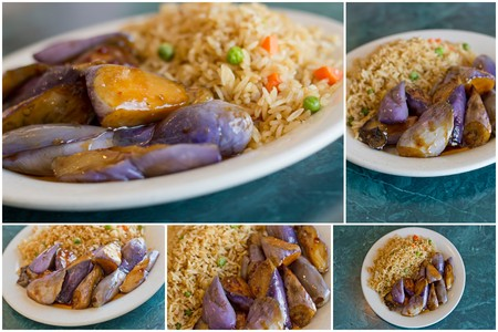 berenjena: Imágenes Collage de berenjena salteada china con salsa de ostras y arroz frito