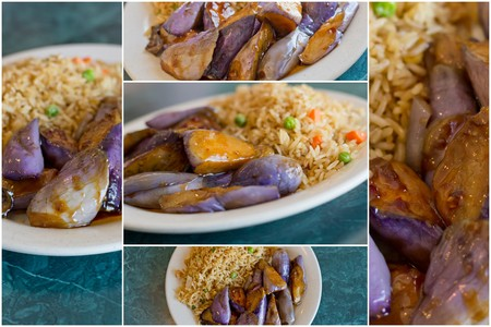 berenjenas: Collage images of Chinese sauteed eggplant with oyster sauce and fried rice