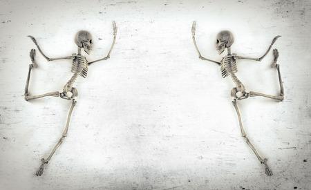 tap dance: Silly dancing medical skeleton on grunge vintage background Stock Photo