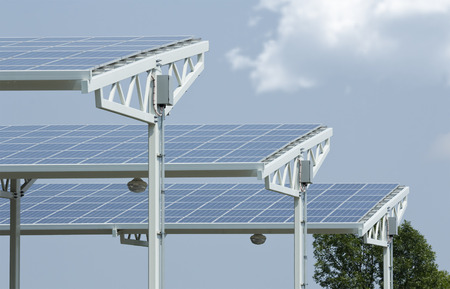 hot summer: Solar panels absorbing the suns energy on hot summer day