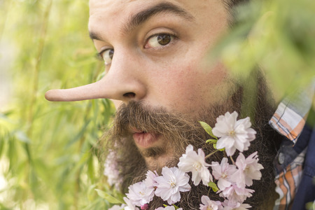 panache: Flowers decorate the beard of this young man with a long liar nose