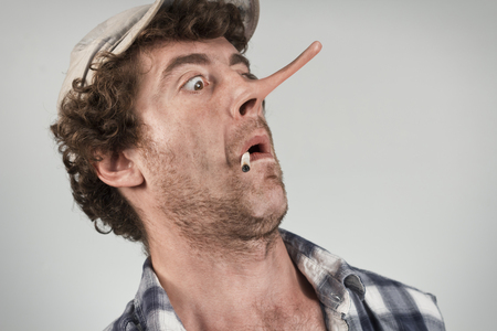 stunned: Shocked redneck jumps back in fear as his lying nose grows