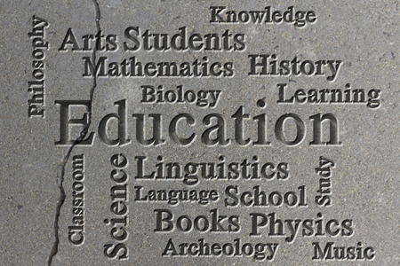 linguistics: Education classroom subjects and related words in wordcloud on textured background