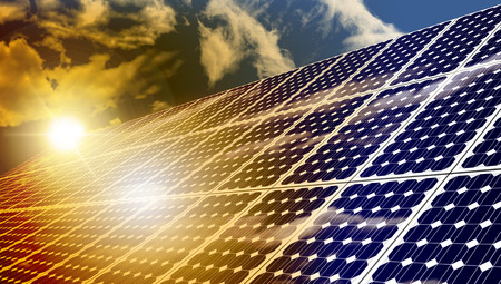 solar cells: Solar panels absorbing the suns energy on hot summer day