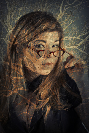 multiple image: Multiple exposure portrait for imagination nature themed image