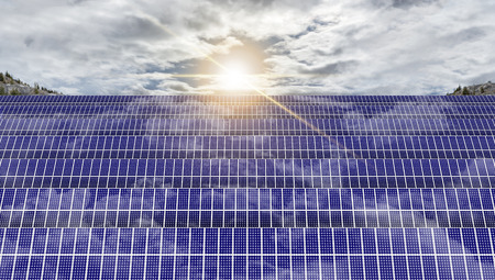 suns: Solar panels absorbing the suns energy on hot summer day