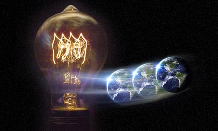 globo terraqueo: El planeta tierra y bombilla por el poder global y el concepto de energ�a Foto de archivo