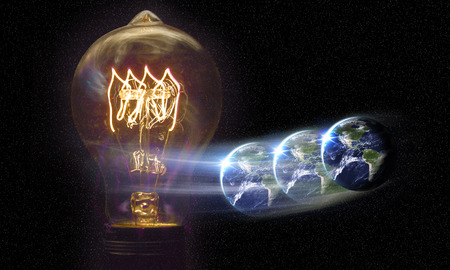 wereldbol: Planet earth and lightbulb for global power and energy concept