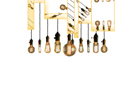 decorative wall: Decorative antique edison style light bulbs against brick wall background