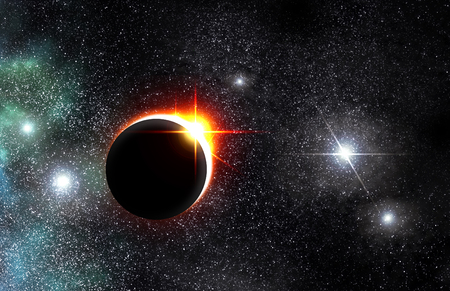 Bright eclipse starscape backdrop with colorful space clouds Фото со стока