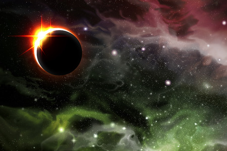 Bright eclipse starscape backdrop with colorful space clouds Stock fotó