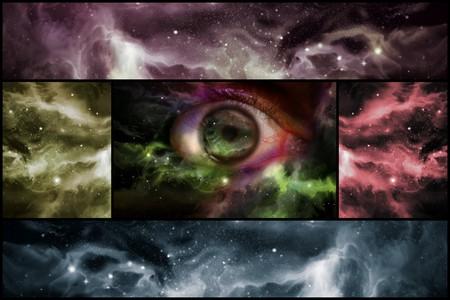 コラージュ形式でカラフルな空間雲と巨大な眼球 starscape 背景