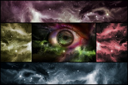 Giant eyeball starscape backdrop with colorful space clouds in collage format