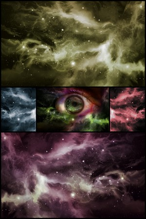 starscape: Giant eyeball starscape backdrop with colorful space clouds in collage format