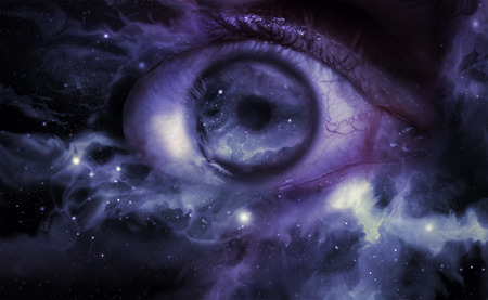 Giant eyeball starscape backdrop with colorful space clouds Stok Fotoğraf