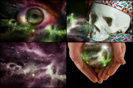 psychic reading: Skull universe crystal ball and all seeing eye in horoscope collage