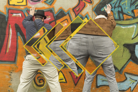 snazzy: Two snazzy stylish men relieve themselves in public