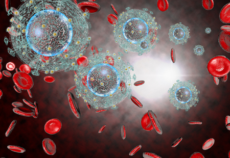 3D generated illustration of HIV Aids virus cells for medical science background Stok Fotoğraf