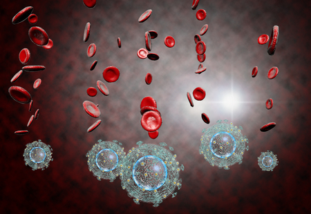 3D generated illustration of HIV Aids virus cells for medical science background Stock Photo