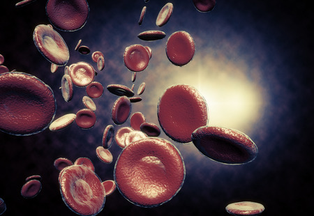 Healthy human red bloodcells in close up 3d graphics render Stock Photo