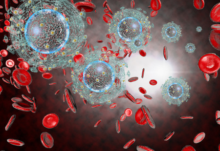 aids virus: 3D generated illustration of HIV Aids virus cells for medical science background Stock Photo