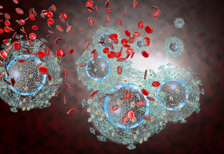 3D generated illustration of HIV Aids virus cells for medical science background Stockfoto