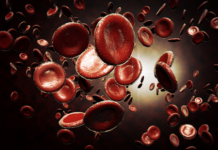erythrocytes: Healthy human red bloodcells in close up 3d graphics render Stock Photo