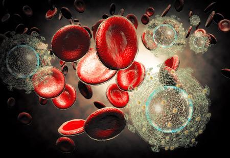 3D 의료 과학 배경 HIV 에이즈 바이러스 세포의 생성 그림 스톡 콘텐츠
