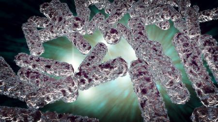 escherichia: Escherichia coli also known as Ecoli bacteria in health science background 3D generated graphic Stock Photo