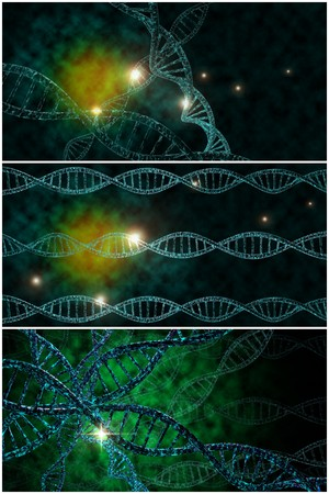 3D DNA strand collage with vibrant colors for genetics background