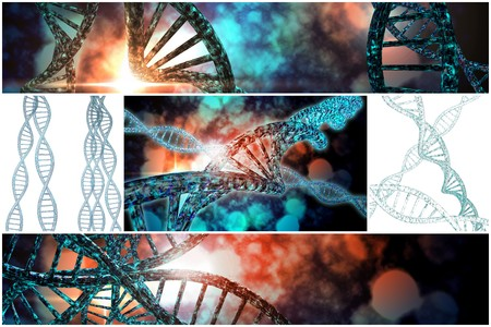 chemical bonds: 3D DNA strand collage with vibrant colors for genetics background