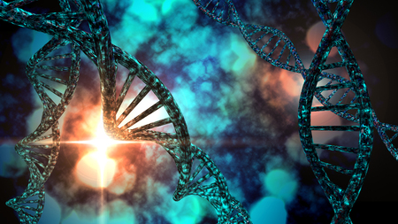 3D DNA strand with vibrant colors for genetics background Фото со стока
